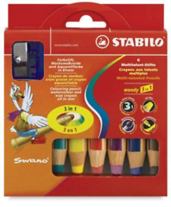 Stabilo Woody Set Of 6 Colors And Sharpener