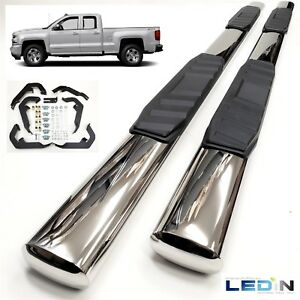 5 Oval Side Step Nerf Bar For 07 18 Silverado 1500 2500 Extended Cab Chrome New