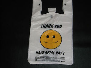 473 Ct Plastic Shopping t Shirt Type Grocery happy Face white Full Size Bags