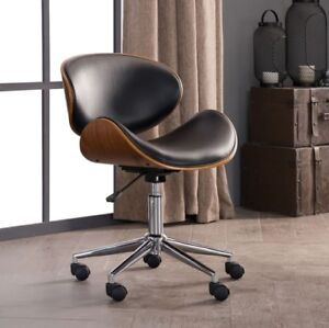 Retro Office Chairs Rolling Metal Black Desk Bonded Leather Wood Egg Shape