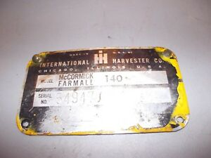 1975 International Farmall 140 Tractor Original Ih Ihc Serial Number Tag Plate