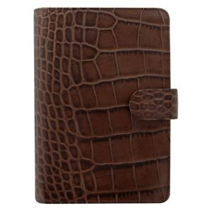 Filofax Persoanl Croc Leather Organizer Agenda Weekly Daily Planner Brown C