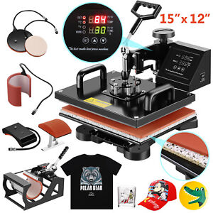 5in1heat Press Machine Swing Away Digital Sublimation T shirt mug plate Hat1250w