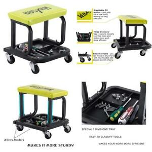 Mechanic Roller Seat Garage Three Divisions Tool Tray Stool Creeper Chair