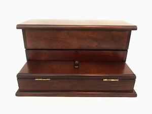 Bombay Co Mahogany Finish Wood Desk Stationary Letter Bill Organizer Valet Box