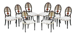 Set 8 New Hepplewhite Paint Decorated Prince Of Wales Feather Back Dining Chairs