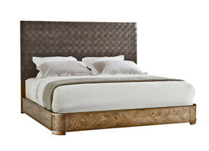 Stunning New Mid Century Modern Euro Style Woven Leather And Oak King Sized Bed