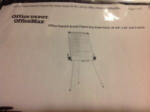 Tripod Easel 29 X 41 Dry Erase Office Presentation Style White gray Universal
