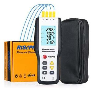 Thermocouple Thermometer Risepro 4 Channel K Type Digital Thermometer