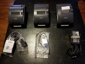 Lot Of 3 Epson Tm u220b M188b Dot Matrix Pos Receipt Printer Serial W Power Cord