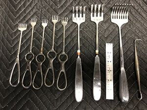 Lot Of 9 Retractors surgical stainless Steel Assorted Models Used