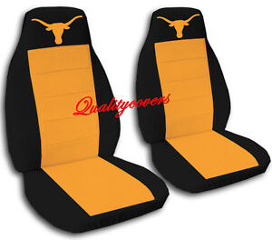 Universal Front Set Car Seat Covers Black And Orange With Orange Longhorn Design