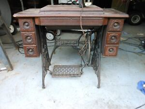 Singer Antique Treadle Sewing Machine Fancy 7 Drawer Cabinet As Is