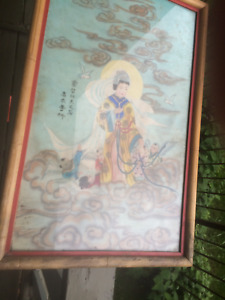 Japanese Painting Asian Painted Screen Silk 14 X 22 Including Frame