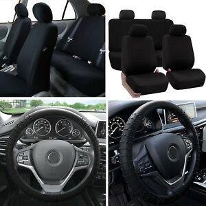 Solid Bench Car Seat Covers Black Set W Silicone Steering Wheel Cover