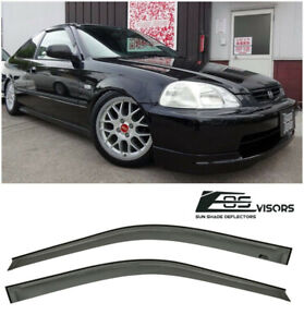 Eos Visors For 96 00 Honda Civic Coupe Jdm Smoke Tinted Side Window Deflectors
