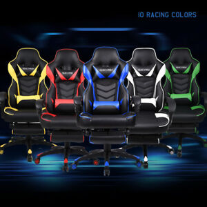 Ergonomic Racing Gaming Chair Adjustable Heavy Duty Swivel Seat Office Footrest