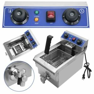 11 7l Commercial Restaurant Electric Deep Fryer Stainless Steel W Timer Drain V
