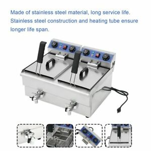 23 4l 3kw Stainless Steel Commercial Restaurant Electric Deep Fryer With Timer V