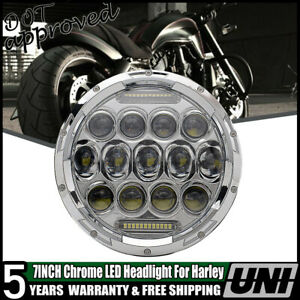 7 Motorcycle Chrome Projector Hid Led Light Bulb Headlight Fit Harley
