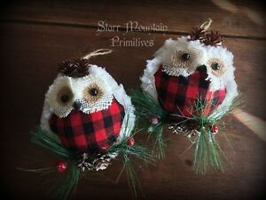 Country Primitive Farmhouse Rustic Owl Red Buffalo Check Christmas Ornaments