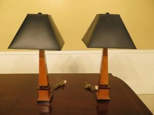 F30272ec Pair Hickory White Co French Empire Obelisk Table Lamps