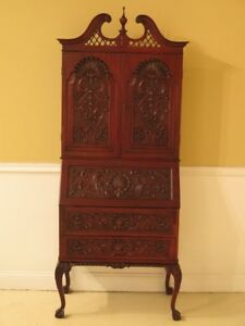 F30255ec Chippendale Highly Carved Mahogany Vintage Secretary Desk