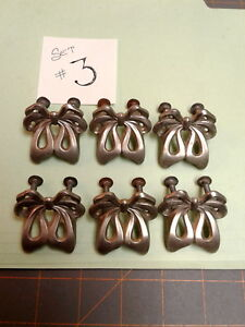 Set Of 6 Mid Century Modern Fancy Bow Drawer Pulls Vtg Brushed Aluminum No 3