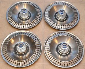 1964 Ford Galaxie Hubcaps 14 Wheel Rim Covers Original Fomoco Turbine Style