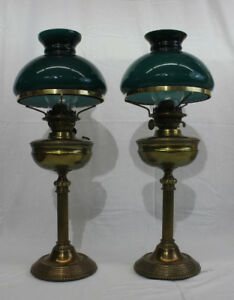 Pair Of Antique Brass Columned 21 Dual Wick Oil Student Lamps W Green Shades