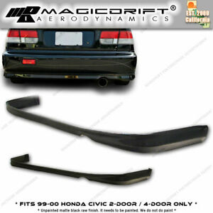 For 99 00 Honda Civic Ek Coupe Sedan Ctr Tr Type R Style Jdm Rear Bumper Lip