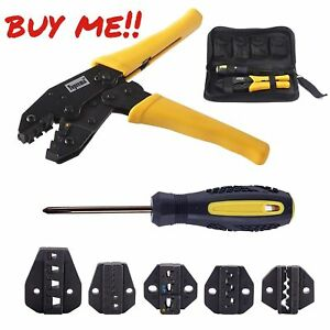 Crimping Tool Kit Ratchet Terminal Connector Plier Crimper Hand Tools Electrical