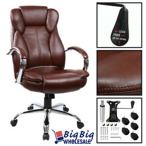 brown swivel Pu Leather Executive Office Desk Task Computer Chair W Metal Base