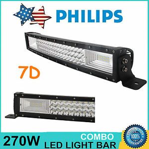 7d Tri row 22inch 270w Curved Led Work Light Bar Combo Off road Atv 120w 23 24