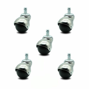 Scc Bright Chrome Hooded 2 Swivel Ball Casters With 7 16 Grip Ring Stem Set 5