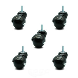Scc Gloss Black Hooded 2 Swivel Ball Casters With 5 16 Threaded Stems Set 5