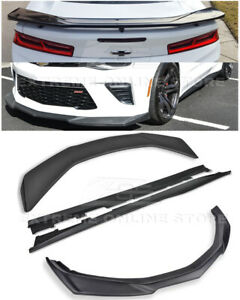 For 16 up Camaro Ss Zl1 Style Front Lip Splitter Side Skirts Rear Spoiler Kit