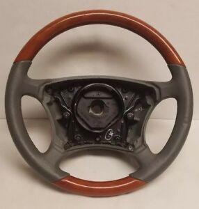 Mercedes W220 S500 S430 S600 Chestnut Wood Gray Leather Steering Wheel