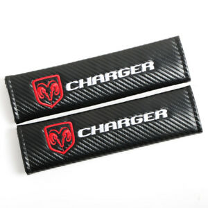 Dodge Charger Carbon Fiber Auto Seat Belt Cover Pads Shoulder Cushion Universal
