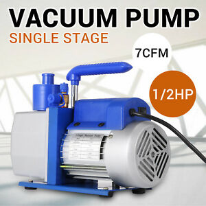 Single Stage Vacuum Pump 7cfm 1 2hp Rotary Vane 1720rpm Black silver