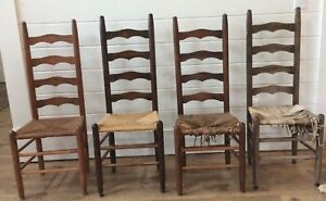 Antique Shaker Amish Ladder Back Ladderback Dining Chairs Rush Woven Seat 4