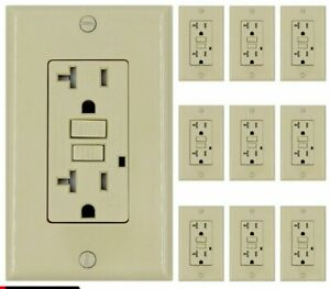 20 Amp Gfci Receptacle Outlet W Led Wallplate Ul Ivory Gfi 20 Amp 10pack