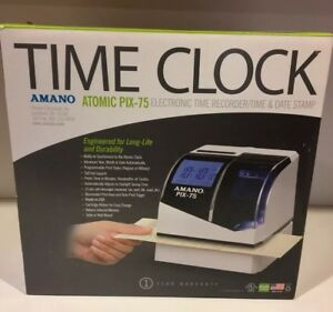 Amano Pix 75 Electronic Atomic Time Clock Recorder New Opened Box Ships Fast