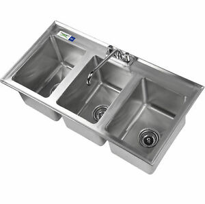 37 Three Compartment 10 X 14 X 10 Bowl Faucet Stainless Steel Drop In Sink 3