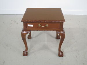 F22468c Ball N Claw Square Mahogany 1 Drawer End Table New