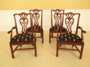 Lf44976ec Set Of 4 Henredon Salaem Cherry Chippendale Dining Chairs