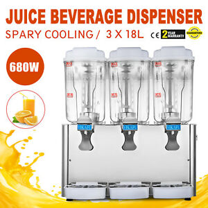 Commercial Juice Beverage Cold Refrigerated 3 Drinks Dispenser Machine 54l 680w