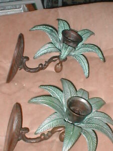 Pair Of Vintage Bronze Patina Candle Sconces