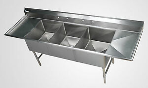 3 Bowl Stainless Steel Sheet Pan Sink With 18 Drain Boards