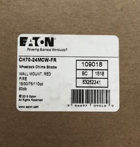 Cooper Wheelock Ch70 24mcw fr Fire Alarm Chime Strobe 24 Vdc Wall Red